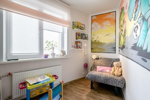 Дизайн однокомнатной квартиры 30 кв.м для семьи с ребенком. Вариан.  Детская на месте кухни